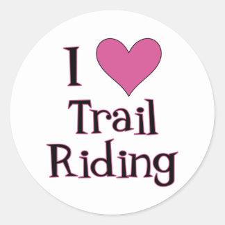 I Heart Trail Riding Classic Round Sticker