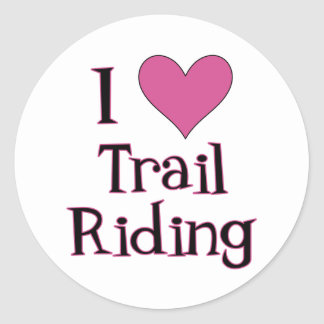 I Heart Trail Riding Round Sticker