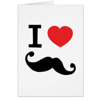 I heart twirly Moustache Greeting Card