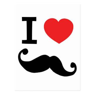 I heart twirly Moustache Postcard