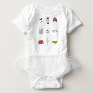 I Heart UK, British Love, United Kingdom Landmarks Baby Bodysuit