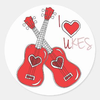 I heart ukes I love Ukuleles Classic Round Sticker