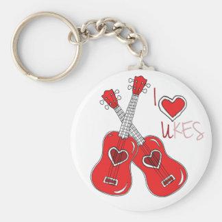 I heart ukes I love Ukuleles Keychain