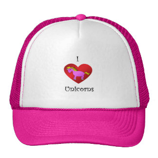 I heart unicorns in dark pink gold fade trucker hats