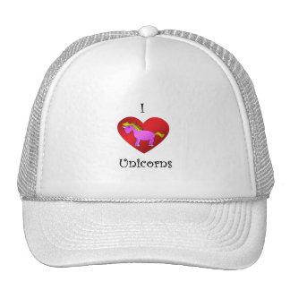 I heart unicorns in dark pink gold fade trucker hat