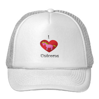 I heart unicorns in pink and gold trucker hat
