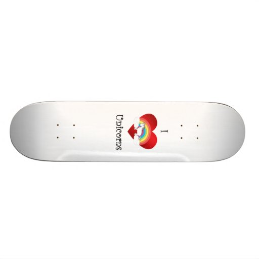 I heart unicorns on heart rainbow and clouds custom skateboard