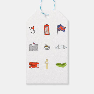 I Heart United Kingdom, British Love, UK landmarks Gift Tags