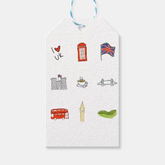 I Heart United Kingdom, British Love, UK landmarks Gift Tags