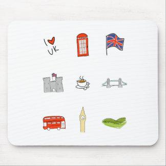 I Heart United Kingdom, British Love, UK landmarks Mouse Pad