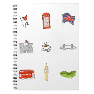 I Heart United Kingdom, British Love, UK landmarks Notebook