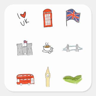 I Heart United Kingdom, British Love, UK landmarks Square Sticker
