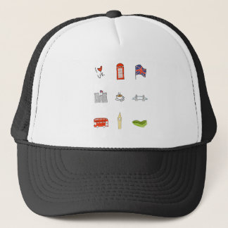 I Heart United Kingdom, British Love, UK landmarks Trucker Hat
