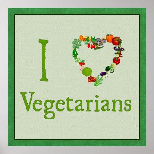 I Heart Vegetarians Poster