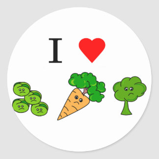 i heart veggies classic round sticker