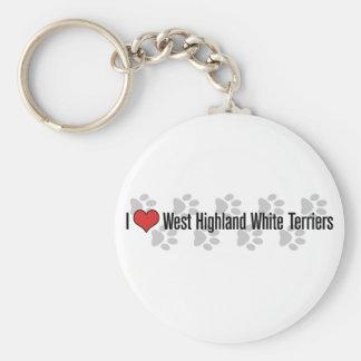 I (heart) West Highland White Terriers Basic Round Button Keychain