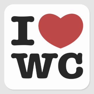 I Heart White Center Square Sticker