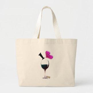 I Heart Wine Large Tote Bag