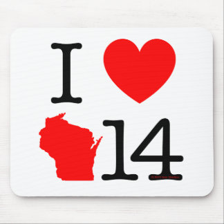 I Heart Wisconsin 14 Mouse Pad