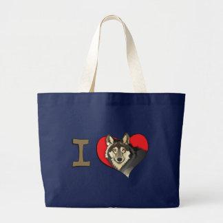 I heart wolves large tote bag
