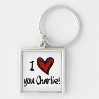 I heart you Charlie Keychain