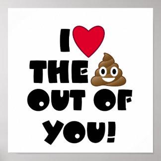 I Heart You Emoji Poo Poster