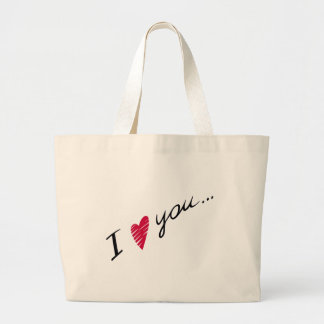 I Heart You Red Valentines Large Tote Bag