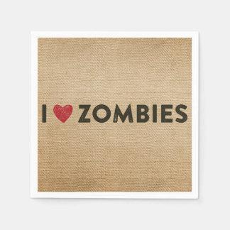I heart Zombies Burlap Paper Napkins