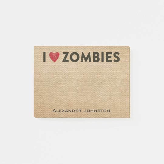 I heart Zombies Burlap Personalize Post-it Notes