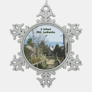 I hiked Mt LeConte / Photo Art Snowflake Pewter Christmas Ornament