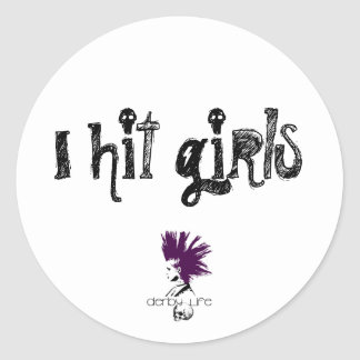I hit girls classic round sticker