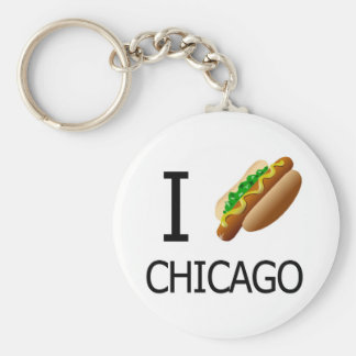 I Hotdog Chicago Keychainx Basic Round Button Keychain
