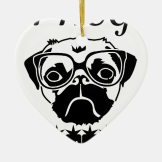 i hug pugs ceramic ornament