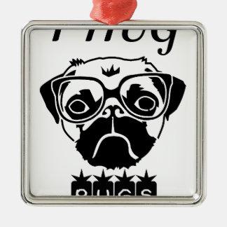 i hug pugs metal ornament