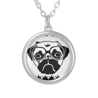 i hug pugs silver plated necklace