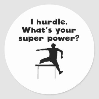 I Hurdle Super Power Classic Round Sticker