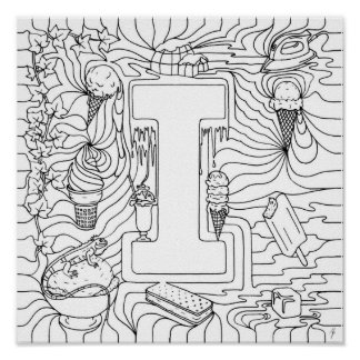 I Is For Ice-Cream Color In Letter Print