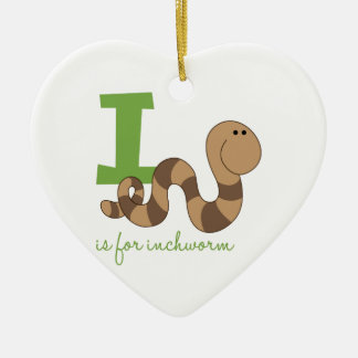 I Is For Inchworm Ceramic Heart Ornament