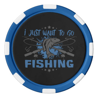 I Just Want To Go Fishing Poker Chip Set