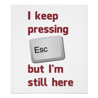 I Keep Pressing The Escape Key But I'm Still Here Poster