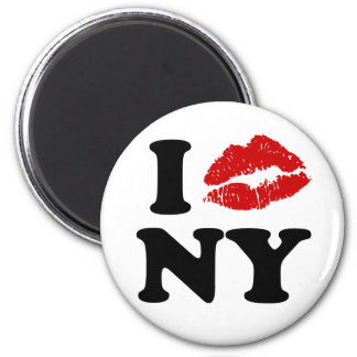 I Kiss New York 2 Inch Round Magnet