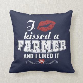 I kissed a FARMER Throw Pillow