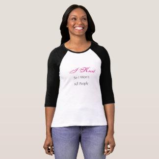 I Knit hot pink and black women's baseball shirt