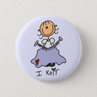I Knit Stick Figure Tshirts and Gifts 2 Inch Round Button
