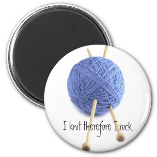 I knit therefore I rock 2 Inch Round Magnet