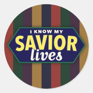 I know my Savior lives. Striped LDS stickers. Classic Round Sticker