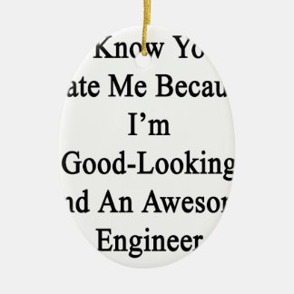 I Know You Hate Me Because I'm Good Looking And An Ceramic Oval Ornament