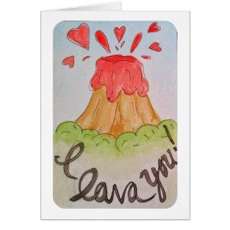 I lava you I love you watercolor valentine Card
