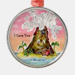 I Lava You Silver-Colored Round Ornament