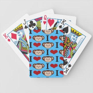 I le coeur Monkeys les Valentines bleus turquoises Cartes De Poker